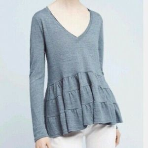 Anthropology Tiered Blue Waffle Knit Top